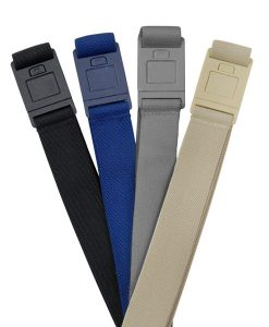 4 pack of beltaway square belts with colors, black, denim, gray, and beige