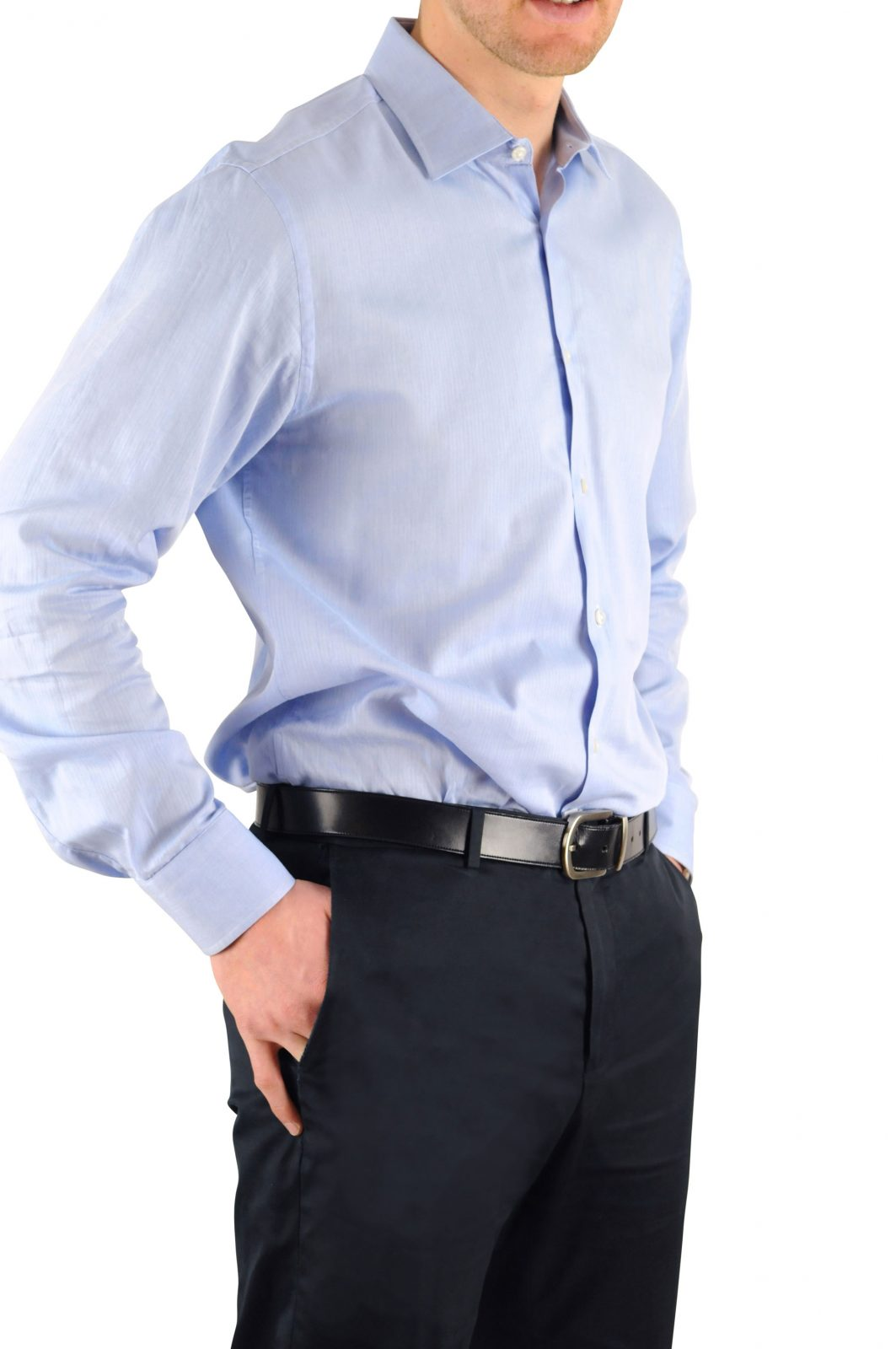 Man in a wrinkled dress shirt not nicely tucked into pants